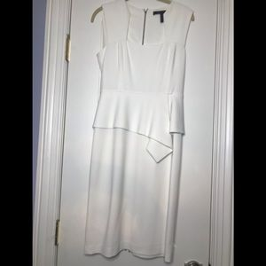 BCBG White asymmetrical peplum dress